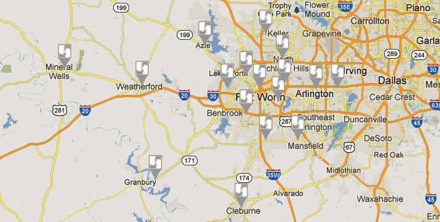 Map of Tarrant Nephrology Dialysis Locations